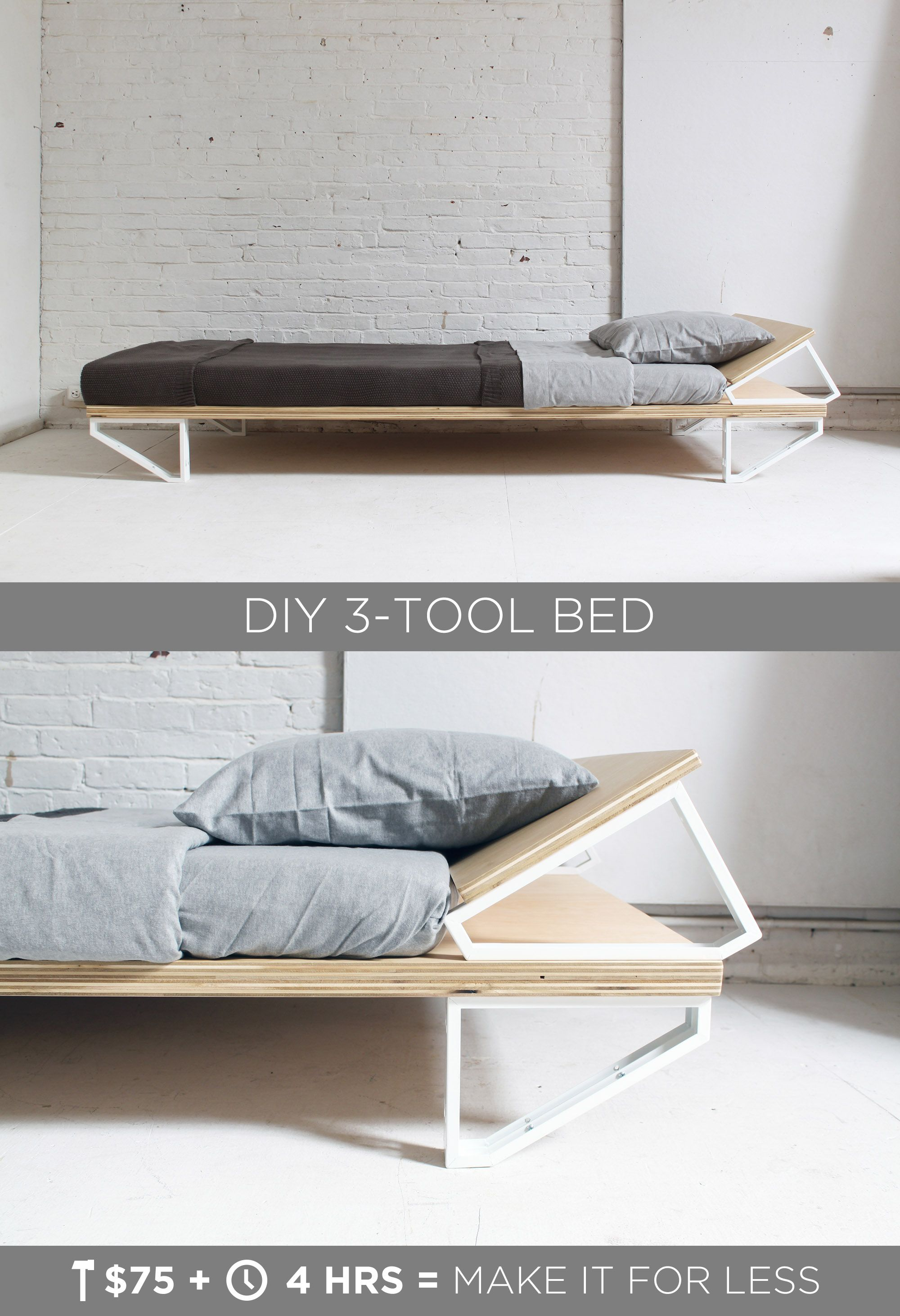 This Diy Modern Bed Is Made From A Sheet Of Plywood And 10