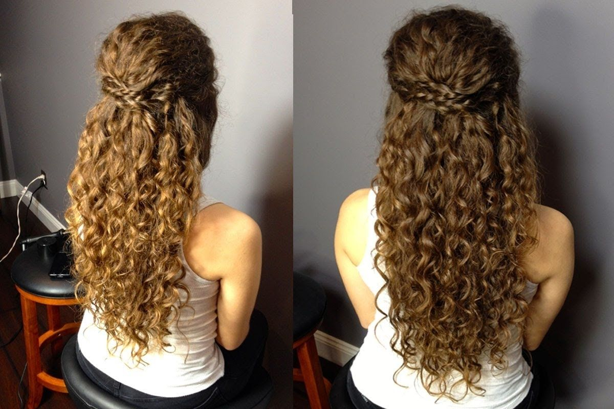 Explore Gallery Of Curly Half Updo Hairstyles 12 Of 15 Curly Hair Styles Naturally Curly Wedding Hair Natural Curls Hairstyles