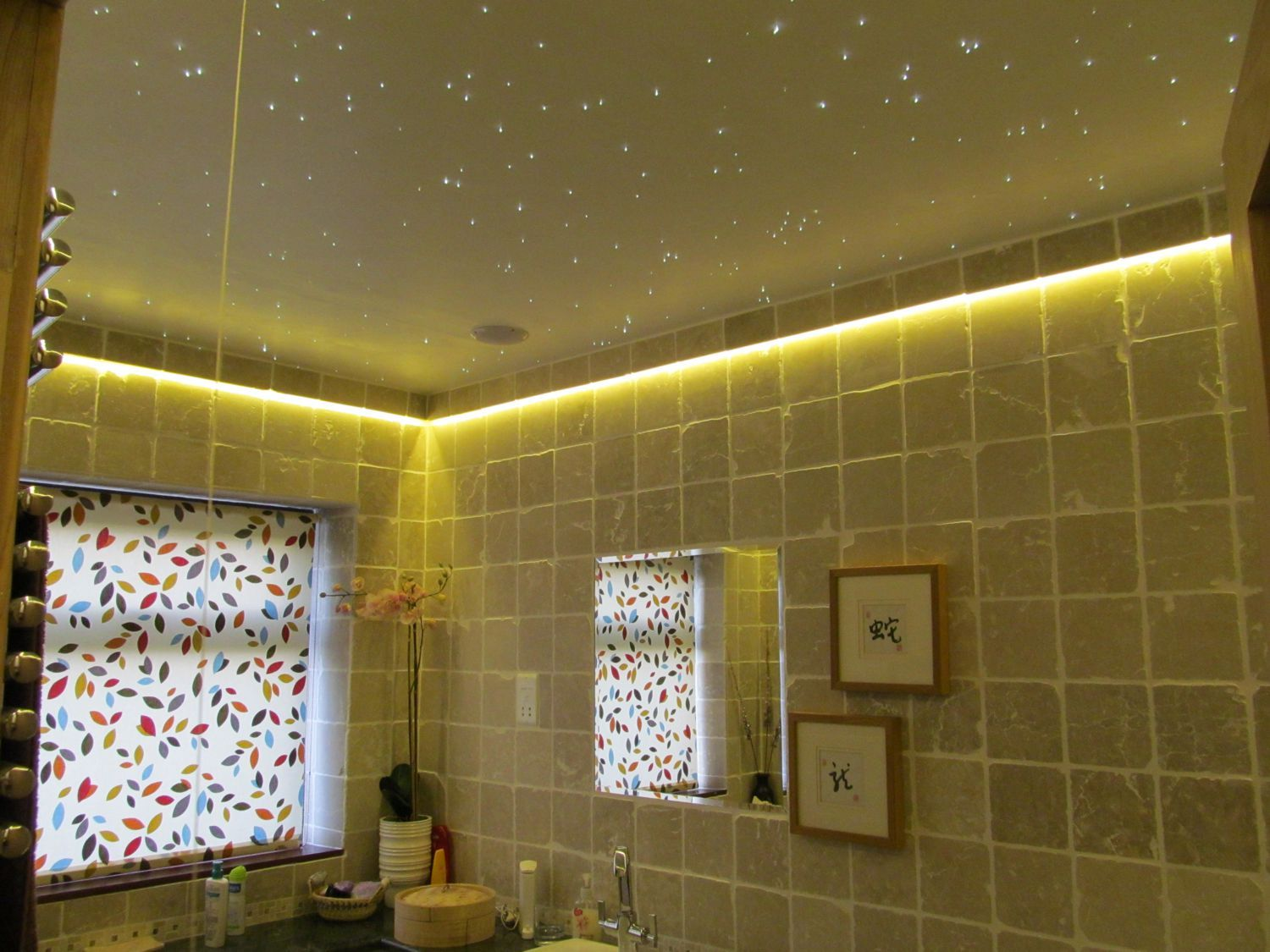 Concealed LED tape colour changing coving lighting with starfield on ...