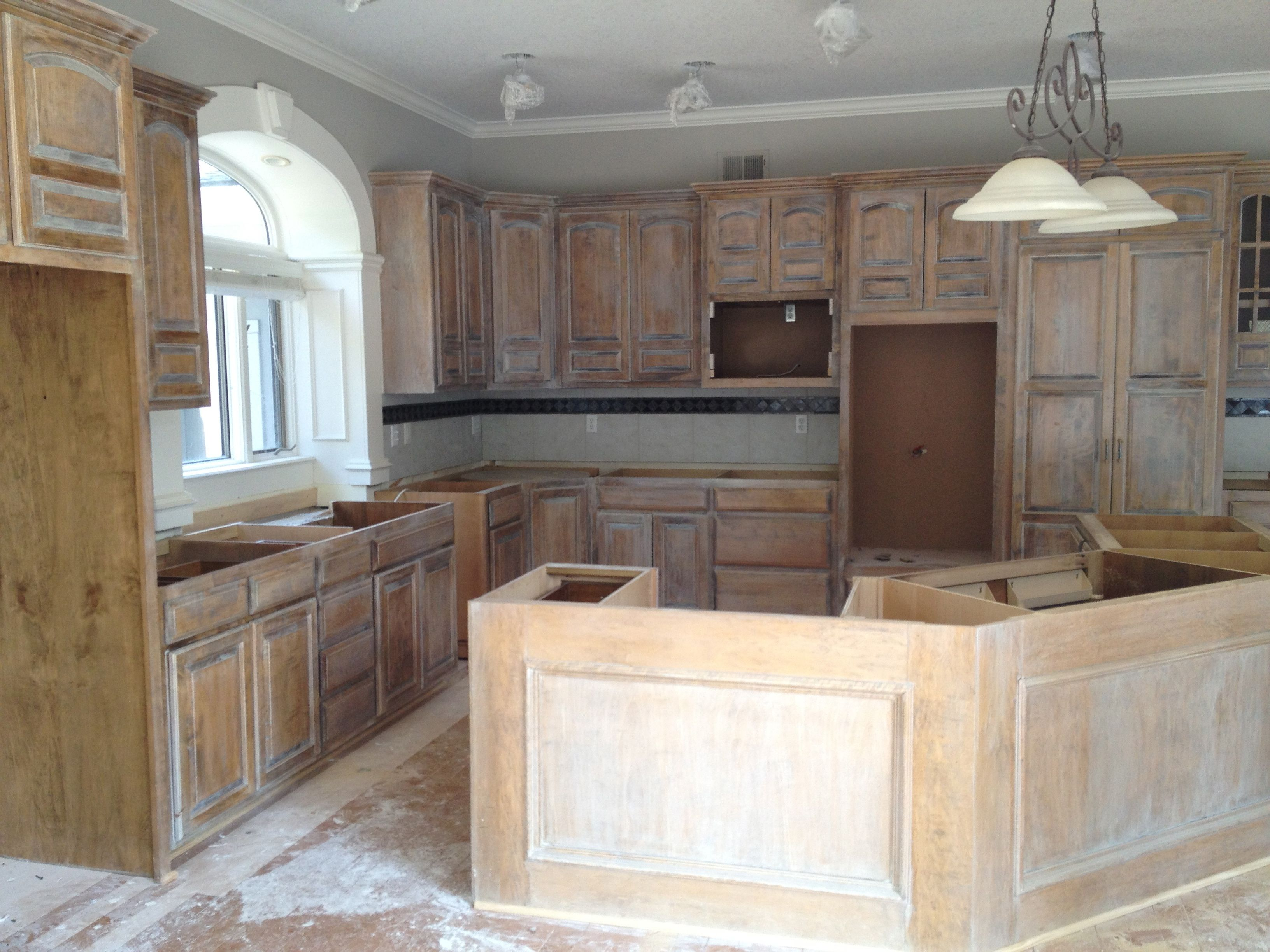 White washed kitchen cabinets   Stained kitchen cabinets ...