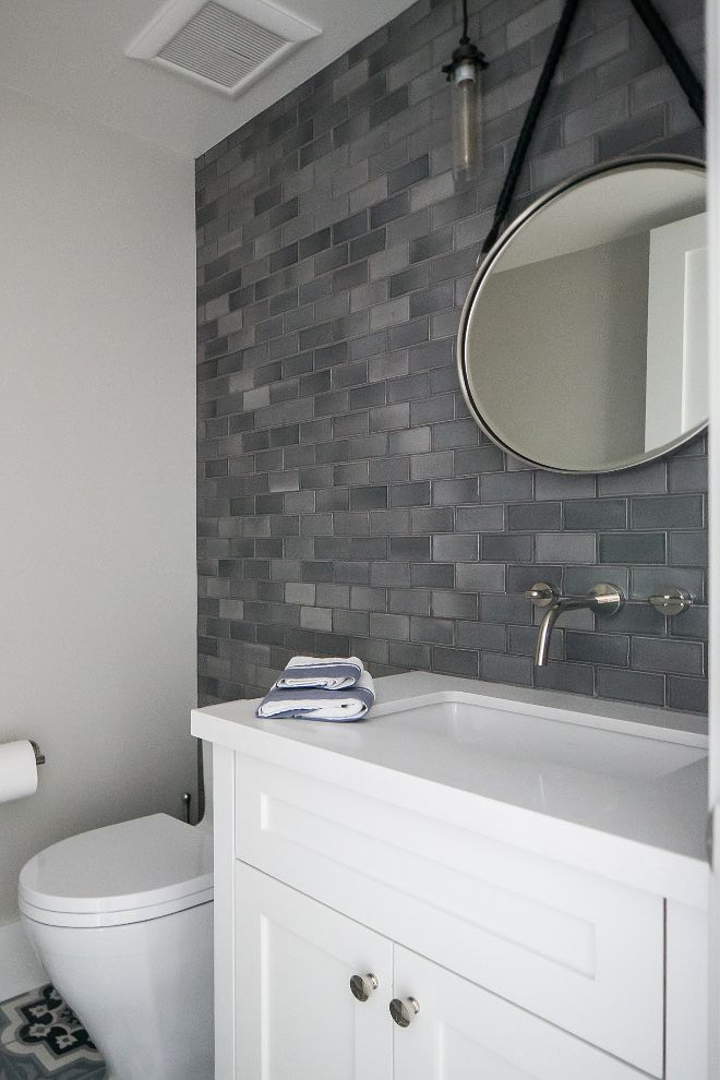 Grey Wall Tile Bathroom Grey Accent Wall Tile This Beautiful Powder Room Is Made Co Bathroom Tile Designs Black And White Tiles Bathroom Bathroom Accent Wall