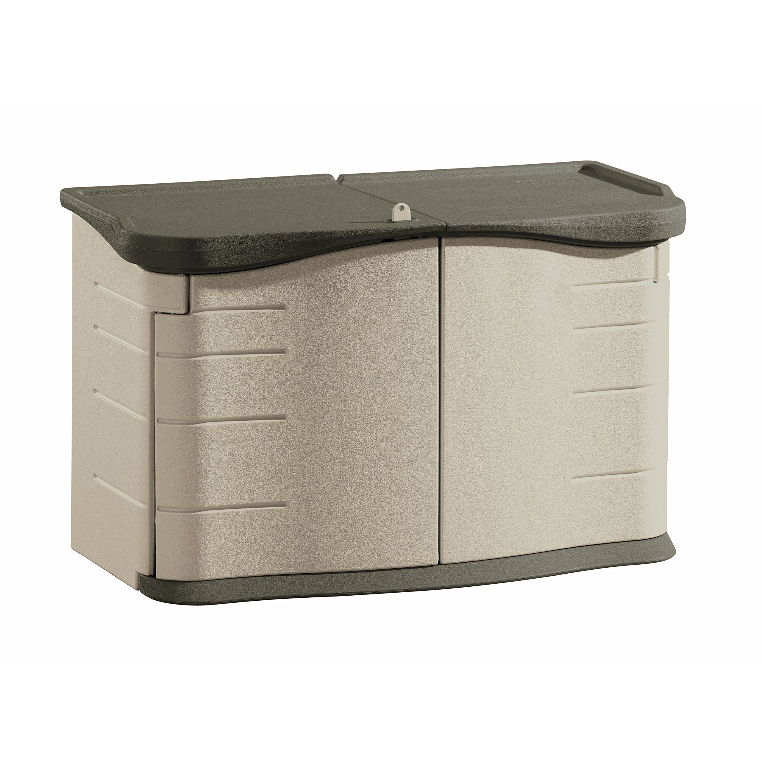 amazonsmile rubbermaid 3753 split lid deck storage shed 18 cubic feet outdoor