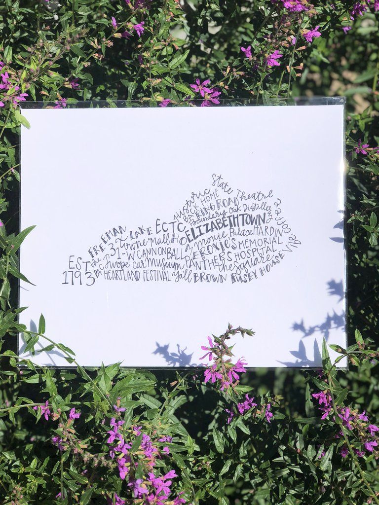 Hand letteredelizabethtownkentucky8x10 print 8x10