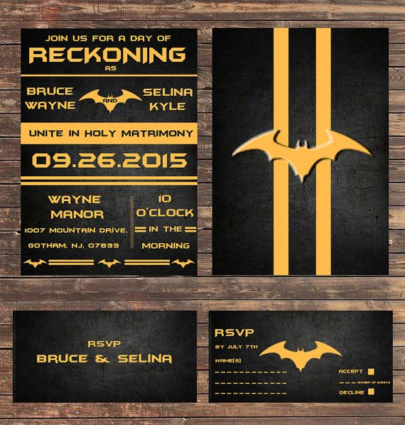 Digital Batman Wedding Invitations By Digitallydreaming On Etsy Batman