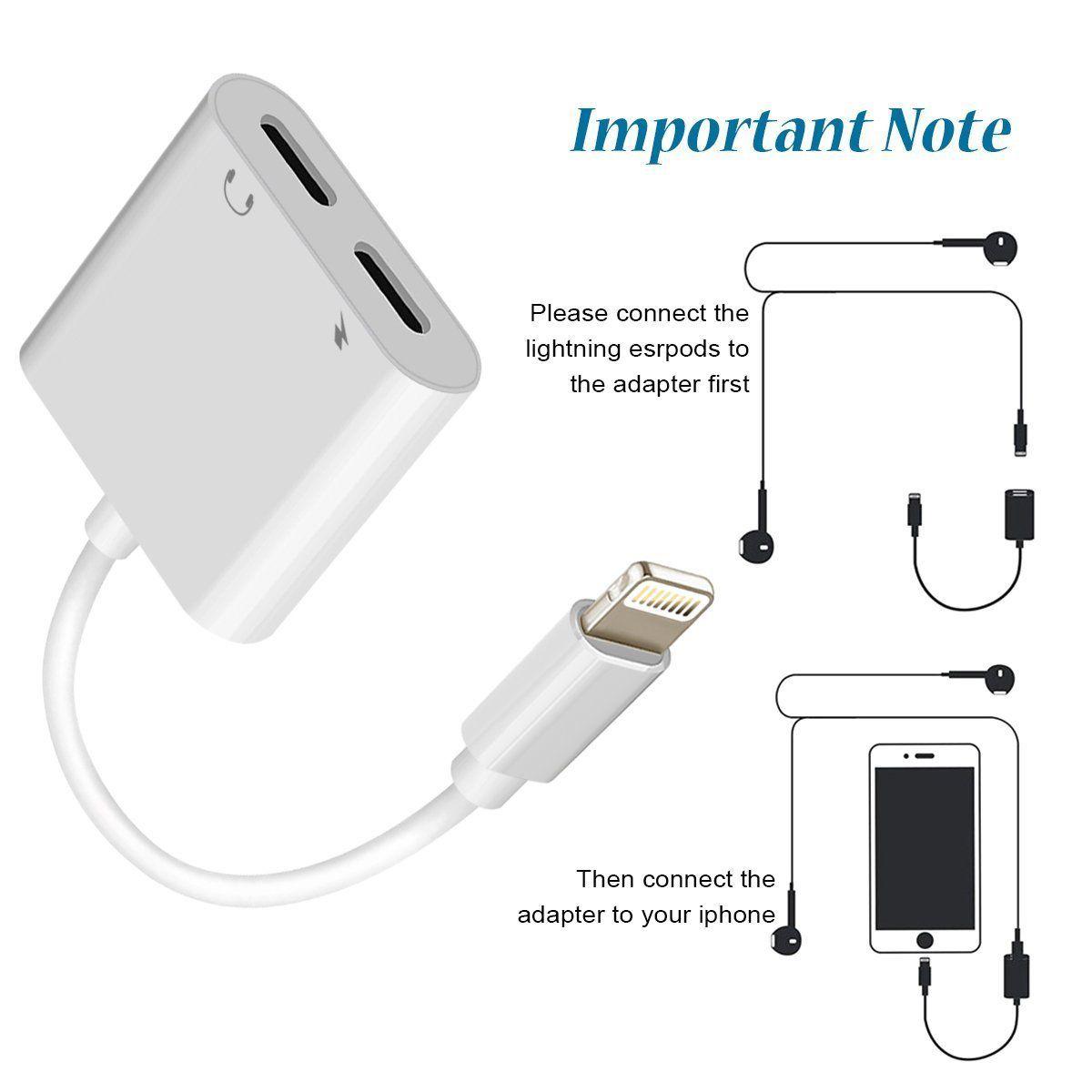 Lighting Splitter Adapter ebasy 2-in-1 Dual Lighting