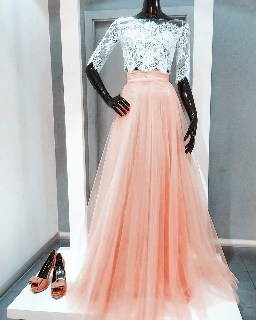 Two piece prom dresses white lace coral tulle half sleeves a