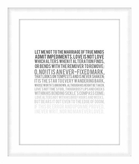 Printable Poster Grayscale Fade Sonnet No 116 Shakespeare