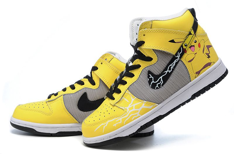 huge selection of 7dad9 46200 Yellow Pokemon Pikachu nike dunk custom high top shoes is printed with the pokemon  pikachu character on the shoes upper panel.