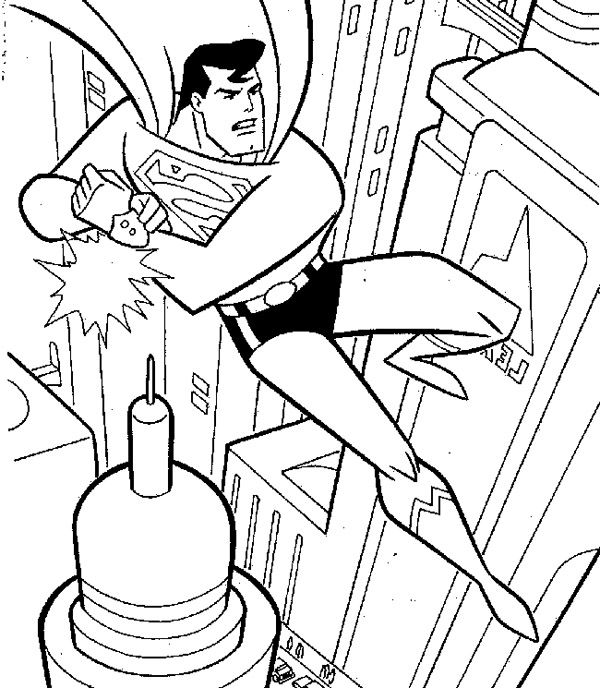 Superman Flying On a Building Coloring Page | Superman | Pinterest