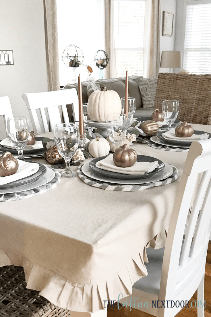 How To Make A Tablecloth Farmhouse Style The Latina Next Door Dining Room Tablecloth Dining Room Table Decor Dining Table Cloth
