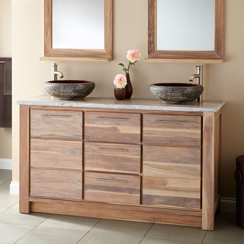 Best 60 Venica Teak Double Vessel Sinks Vanity Whitewash 400 x 300