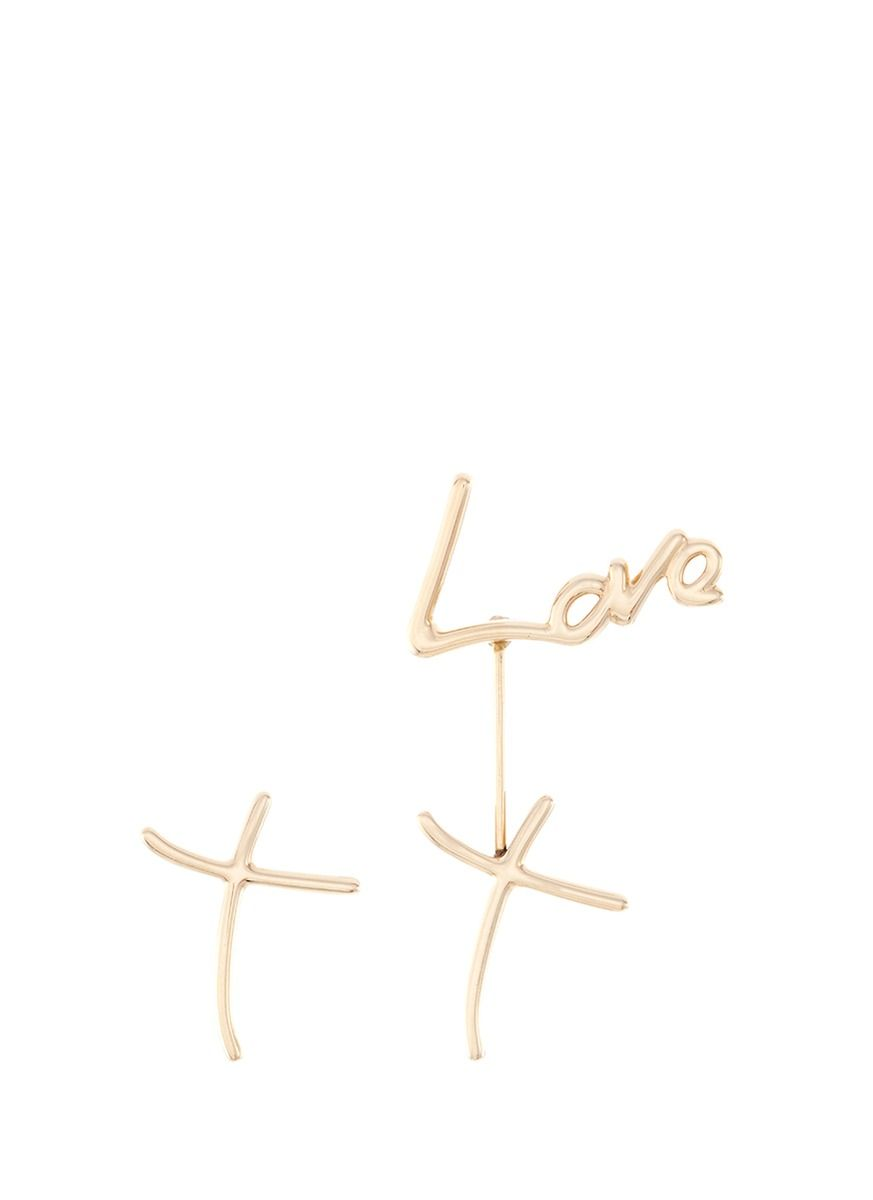 Stephen webster uneon love and kissu k yellow gold mismatched drop