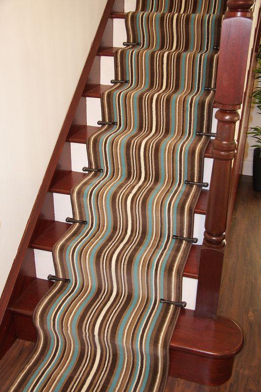 Brown Teal Blue Stripe Cut To Any Length Long Stair Carpet Runner Sold Per  Metre