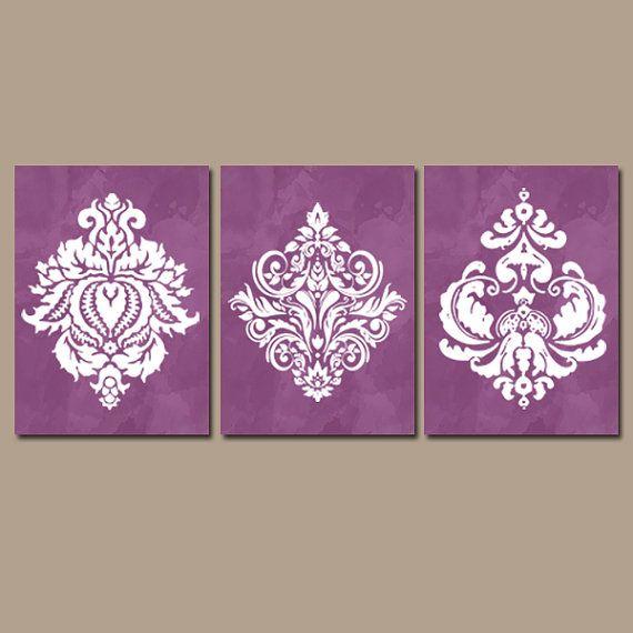Purple Bedroom Wall Art, Canvas or Prints, Watercolor Decor, Purple ...