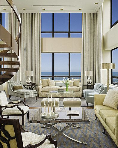 Love this living room all in white and windows!!