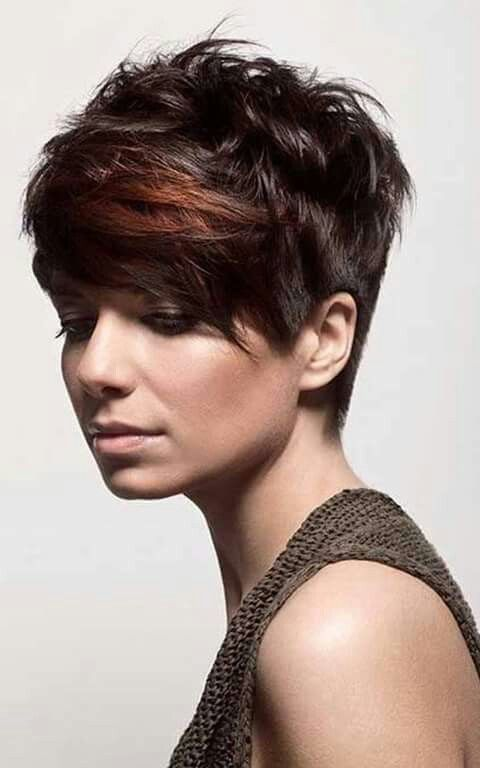 Dark Brown Hair With Copper Highlight On Bangs Hair Color