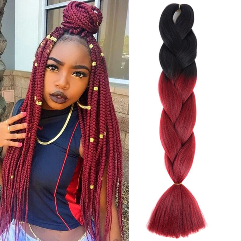 Ombre Braiding Hair Extension 5pcs Lot 24 Black Wine Red Braid In Hair Extensions Braided Hairstyles Hair Styles