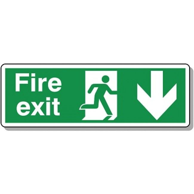 sticker fire exit down office door buiding emergency self adhesive vinyl decal