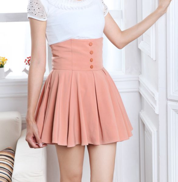 2014 New Casual Women Sexy Chiffon Retro High Waist Double Layer ...