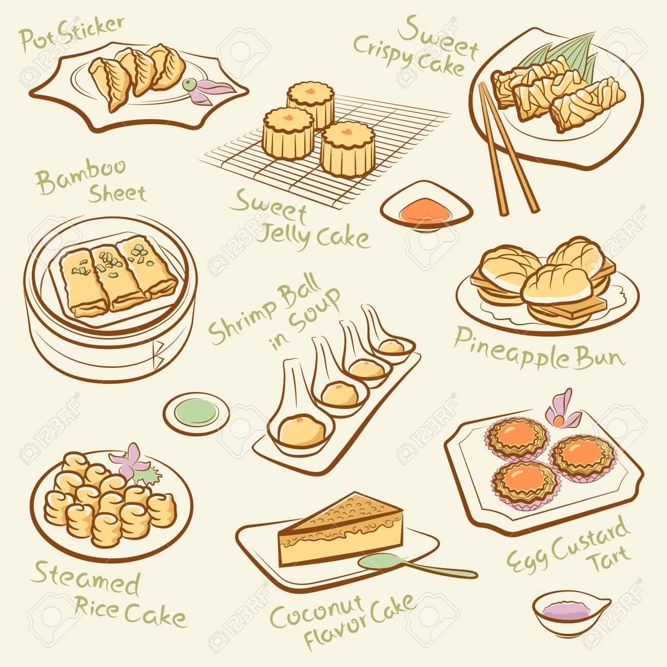 Set Of Chinese Food Food Doodles Chinese Food Cantonese Cuisine