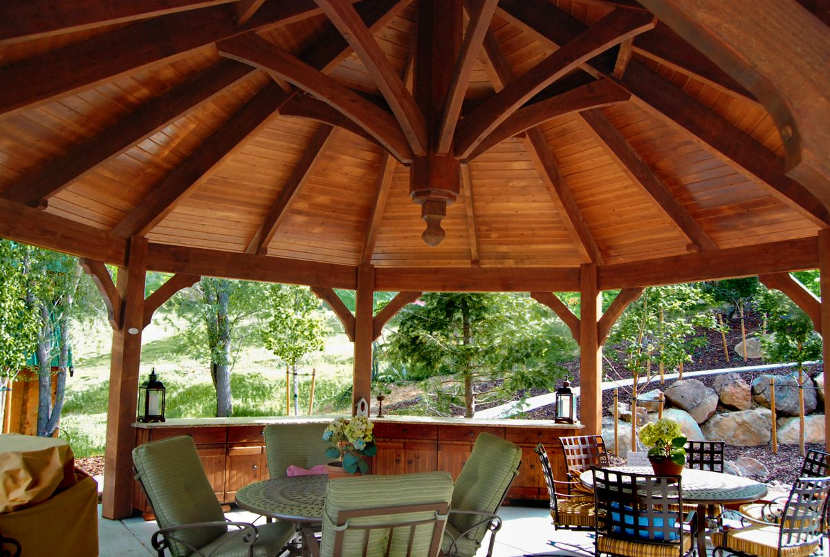 Timber frame gazebo kit with built-in cabinets, outdoor kitchen and power  from Western Timber Frame. - Home Pergolas & Pretty Places Pinterest Gazebo, Pergola And