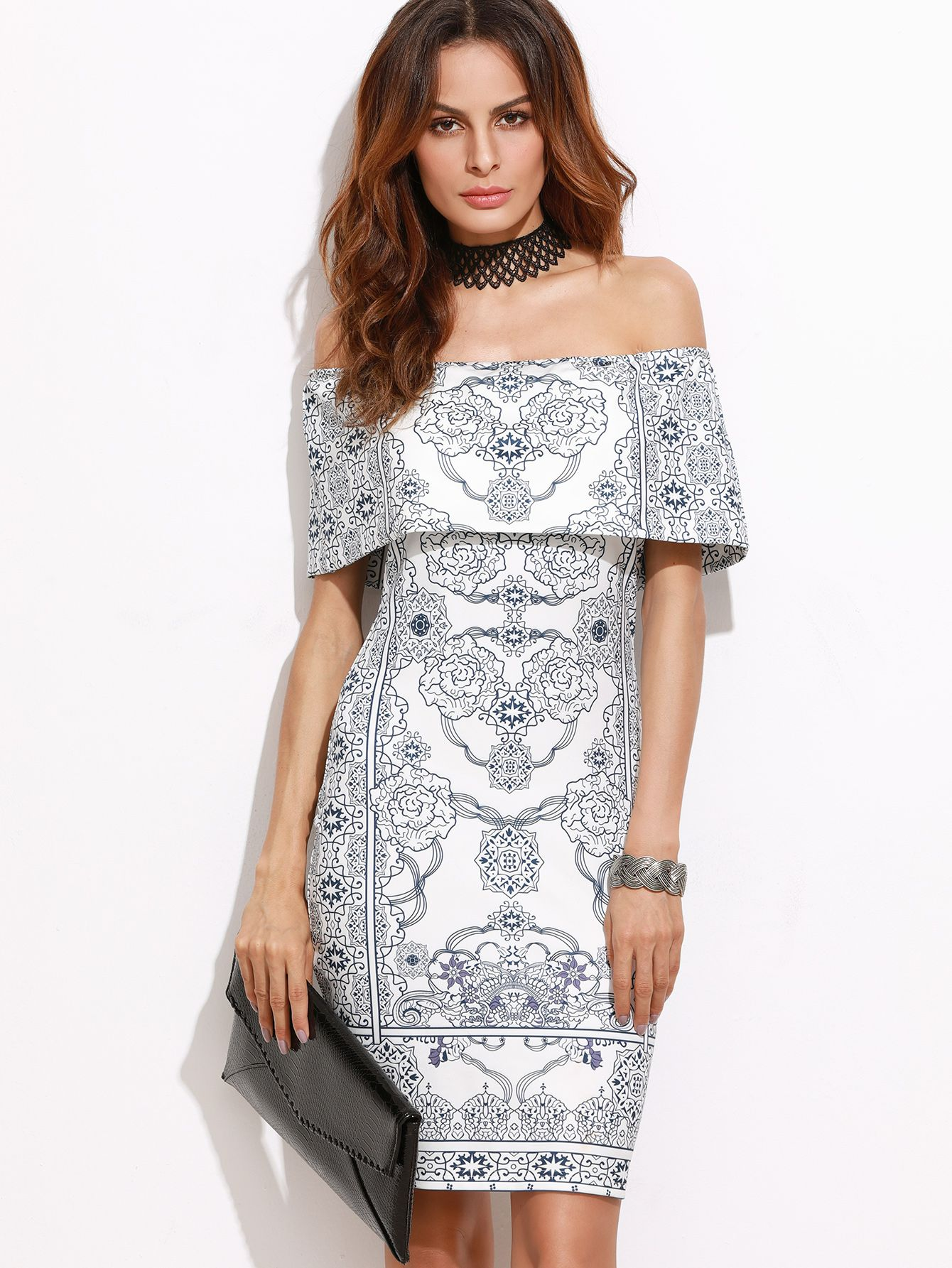 Buy it now white vintage print foldover off the shoulder bodycon