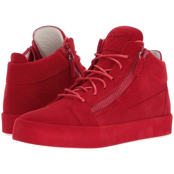 32cf6d70c46 Giuseppe Zanotti May London Mid Top Flocked Sneaker (Flame) Men s Lace.