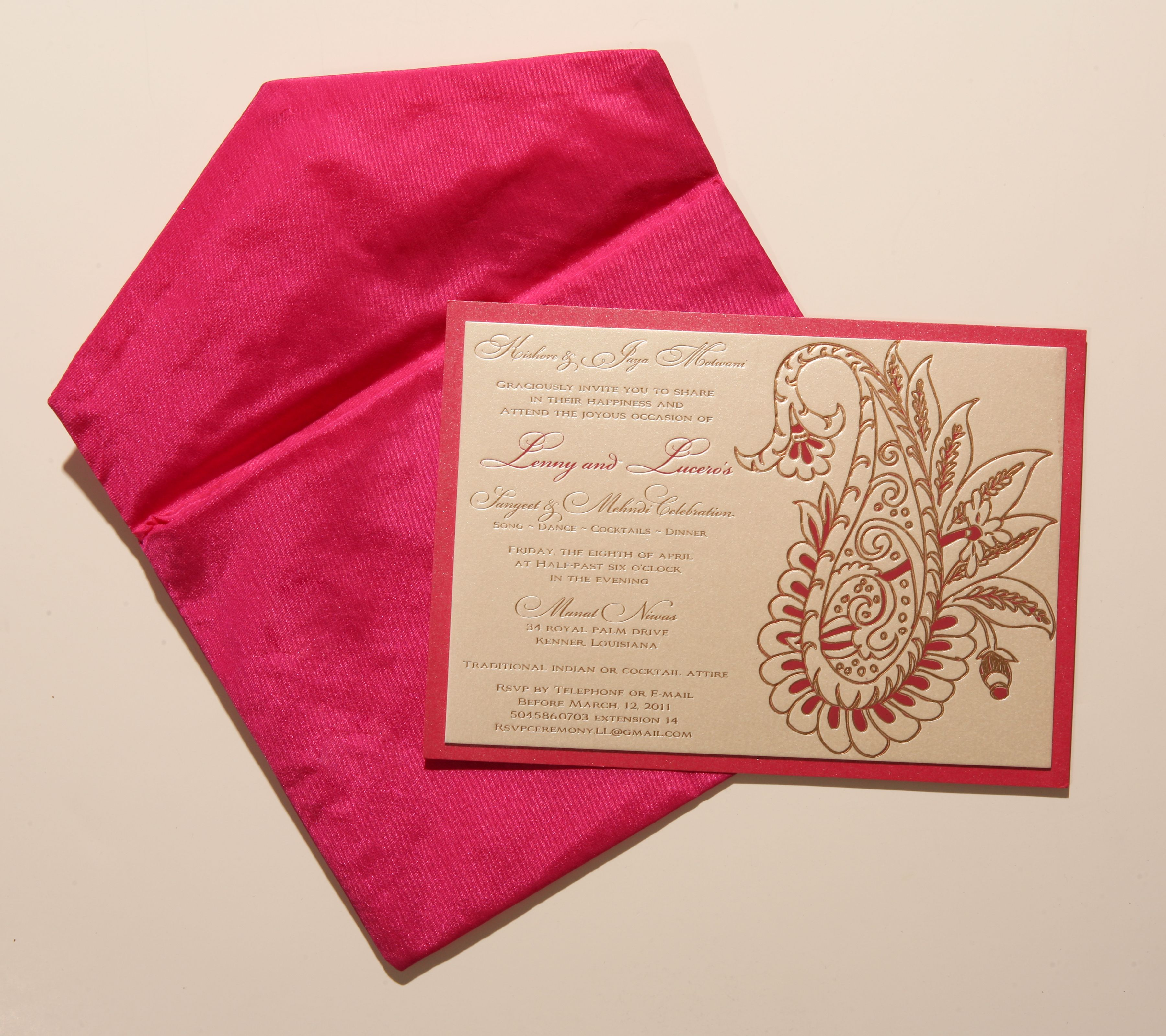 Letterpress party invitation with fabric pocket | Our Invitations ...