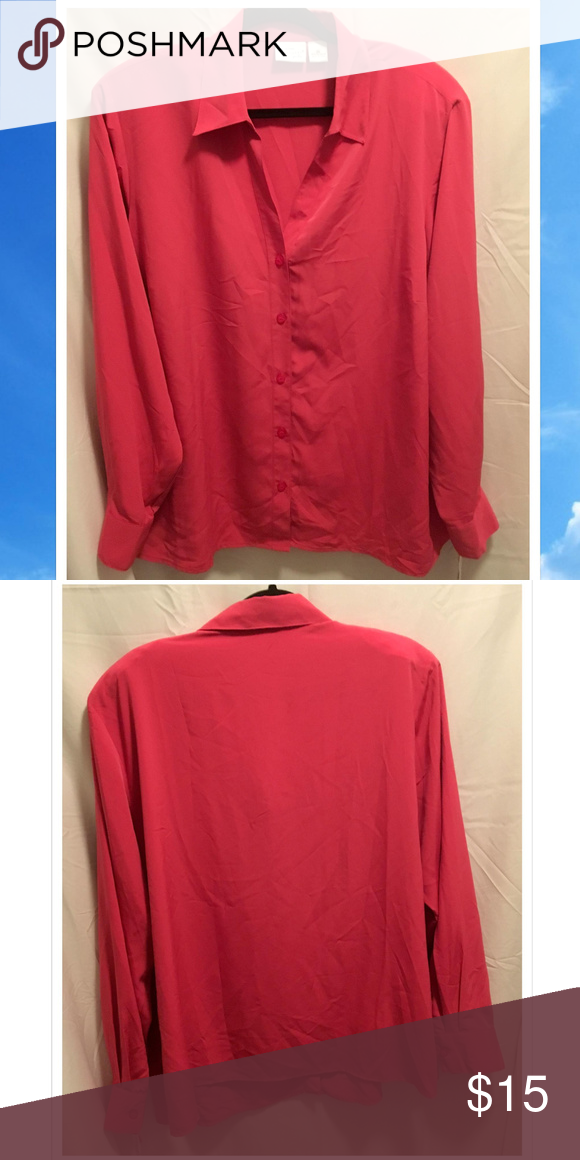 Size 2x Kim Rogers Blouse Button Up Dark Pink Nwt Nwt In 2018 My
