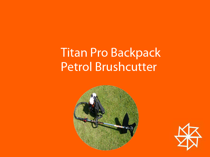 Titan Pro Backpack Petrol Brushcutter. £202 + delivery. For more information please visit - http://www.titan-pro.co.uk/Titan-Pro-BT430--40.7cc-Backpack-Brushcutter-/136/0/Product.aspx