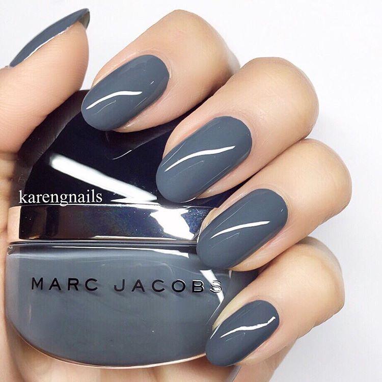 "@karengnails on Instagram: ""shade of GREY ❤️ #nails using 'Evelyn' @marcbeauty + @sephora #manimonday"""