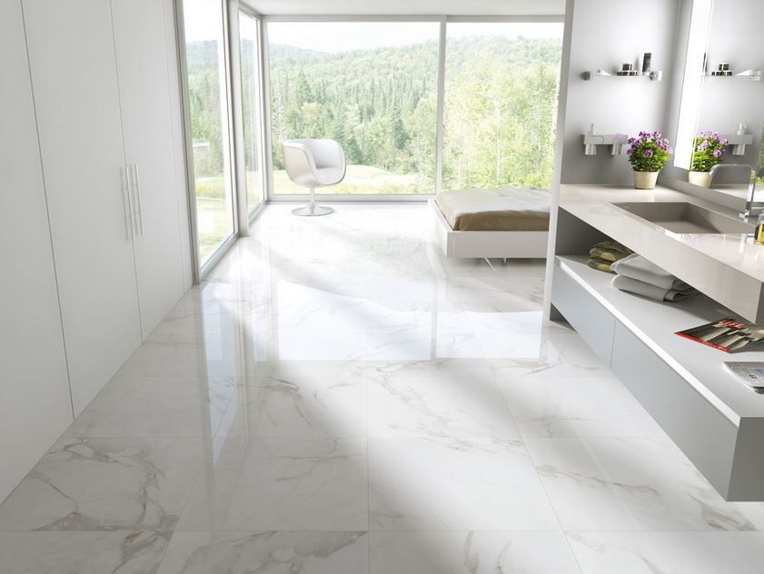 Carrara Polished Porcelain 12x12 12x24 24x24 Floor Tile Design Floor Design Marble Bathroom Designs