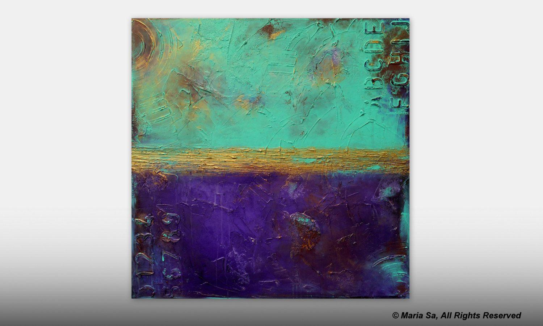 Abstrakte Malerei, Aqua Kunst Malerei, große abstrakte Kunst, helle ...