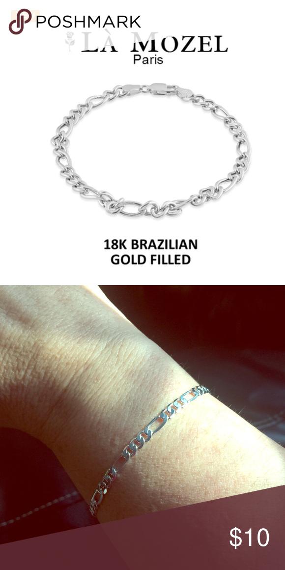 La Mozel 14K White Brazilian Gold Figaro Bracelet White