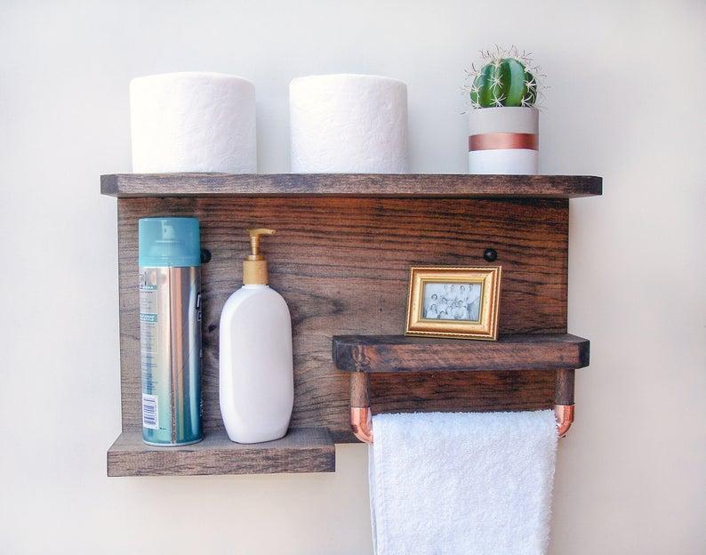 Farmhouse Bathroom Shelf With Towel Rack Shelf With Towel Etsy Bathroom Wall Shelves Bathroom Shelves For Towels Bathroom Shelves