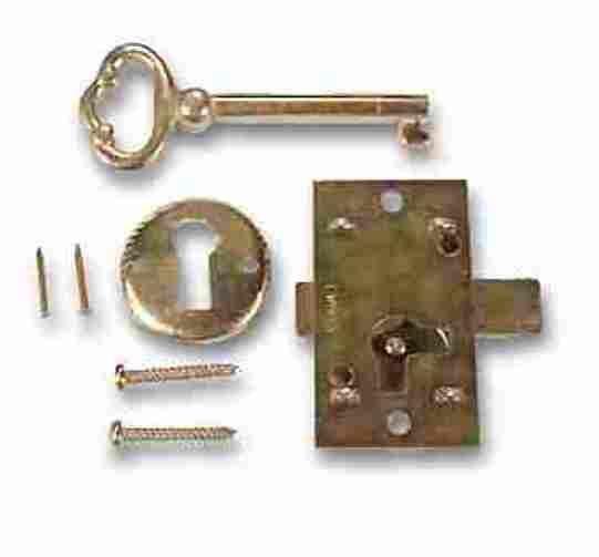 L-1B BRASS PLATED STEEL Flush Mount Cabinet Door Lock & Skeleton ...
