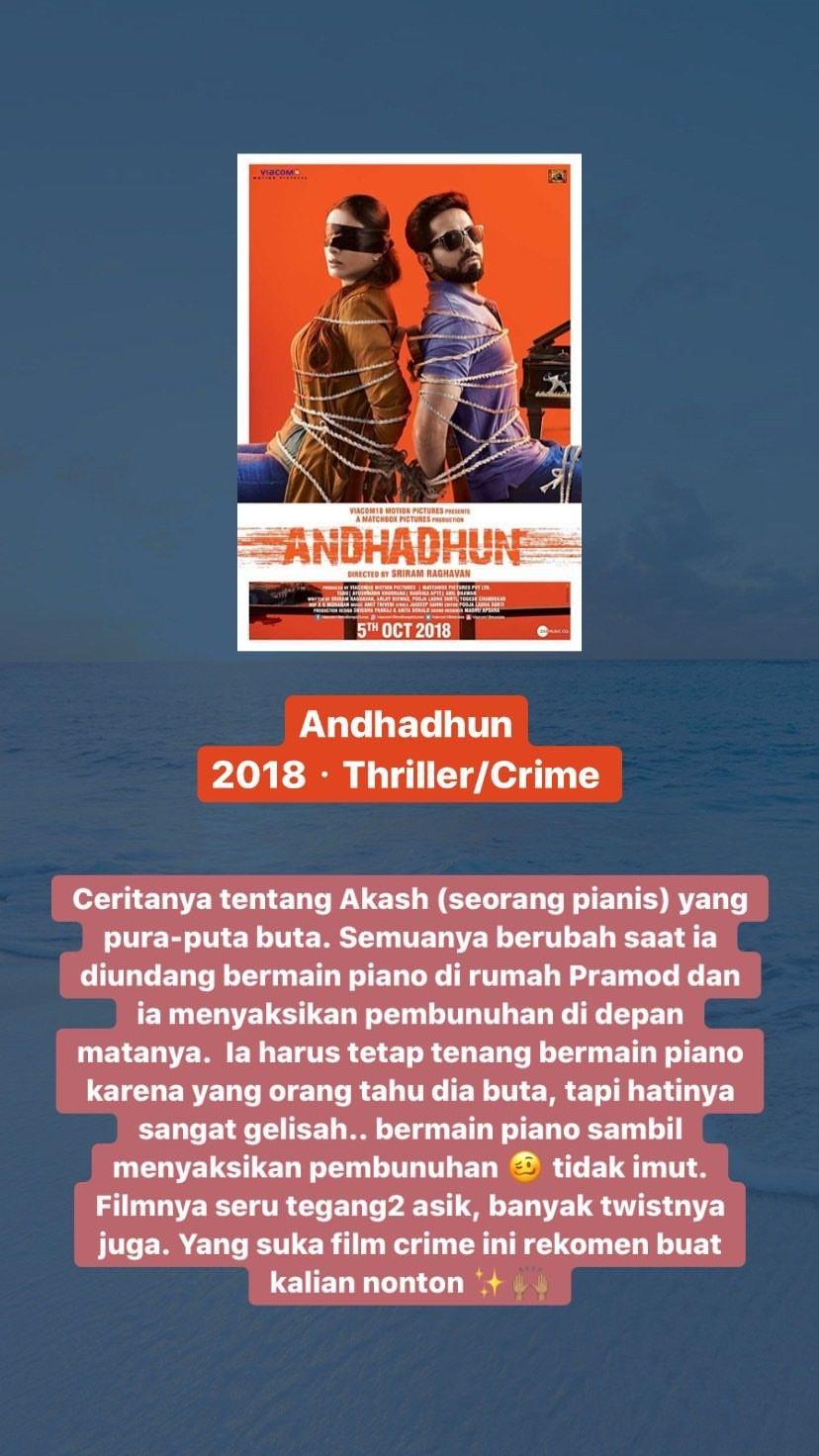 ANDHADHUN di 2020 Film remaja, Film, Buku