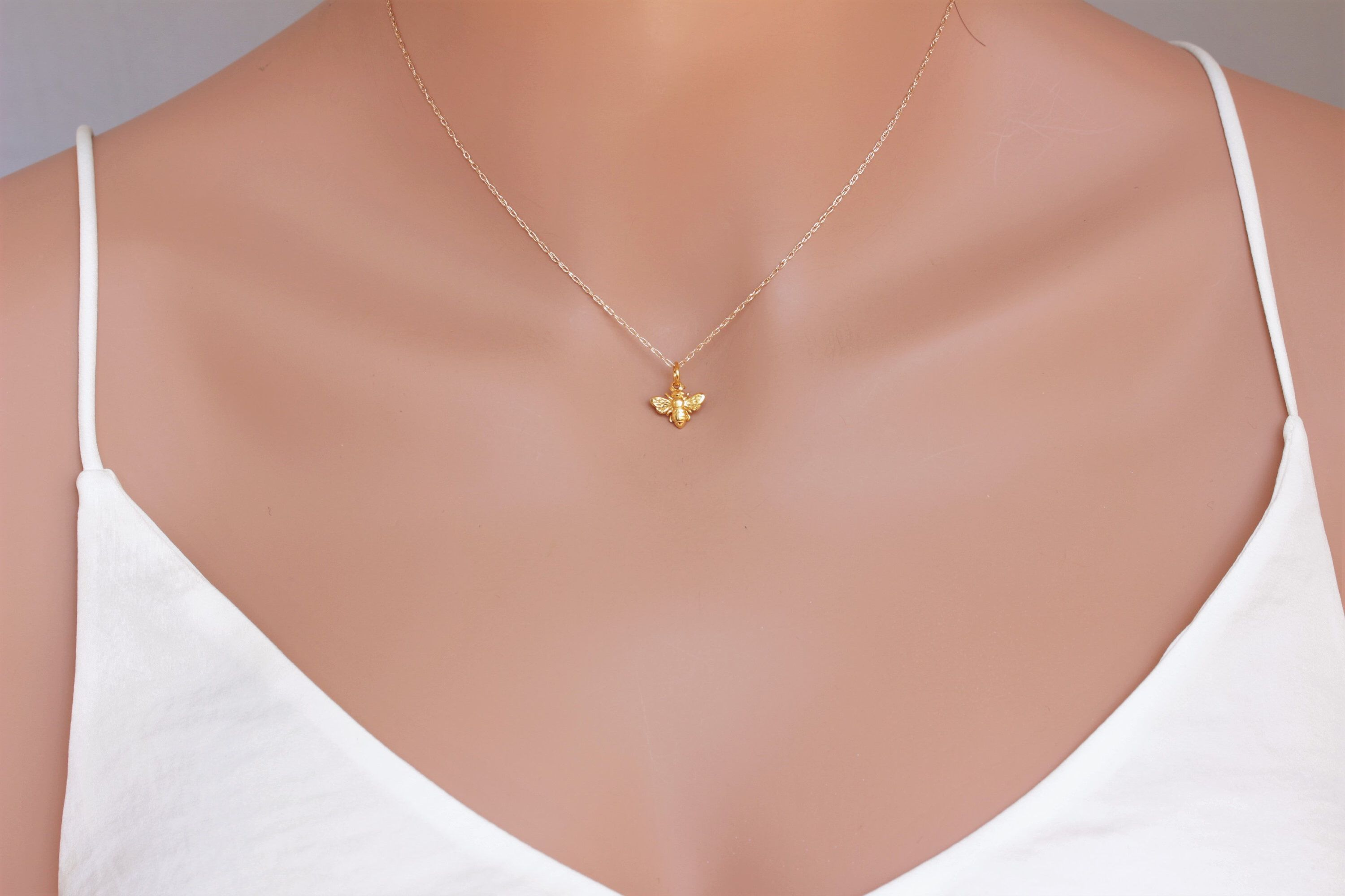 16 14K Solid Yellow Gold Horizontal Bar Necklace in 14K Gold Diamond Cut Cable Chain Necklace