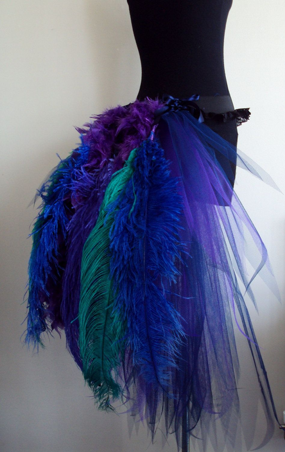 French Navy Blue Purple Peacock Burlesque Tutu Skirt Size 4 10 US 6 12