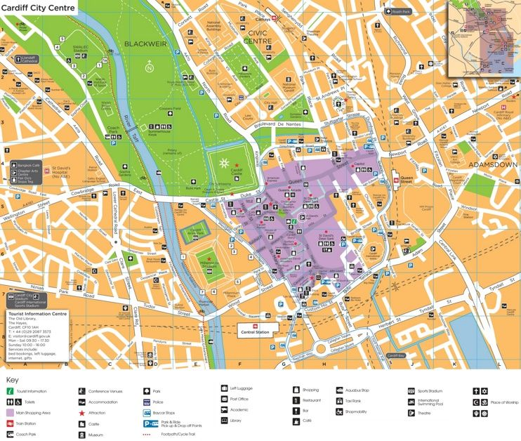Cardiff city center map Maps Pinterest Cardiff and City