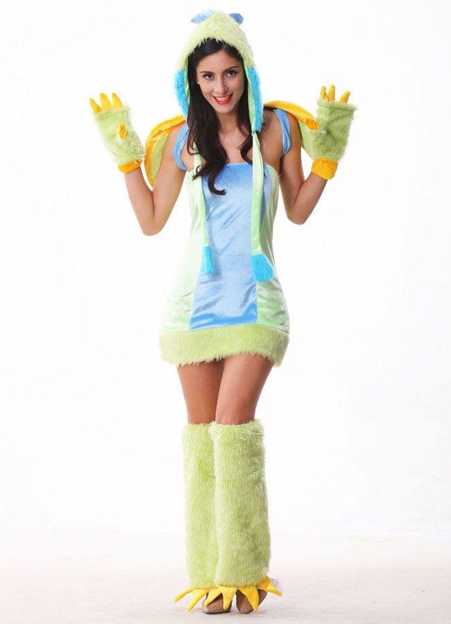 2014 New Halloween Women Cosplay Costumes Sexy Adult Green Dinosaur - green dress halloween costume ideas