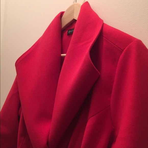 Red Coat Worn Once, Beautiful Red Felt Material Coat Fashion To Figure Jackets & Coats Pea Coats