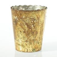 "Mercury Glass Scalloped Desiray Flower Vase in Gold<br>5"" Wide x 6"" Tall"
