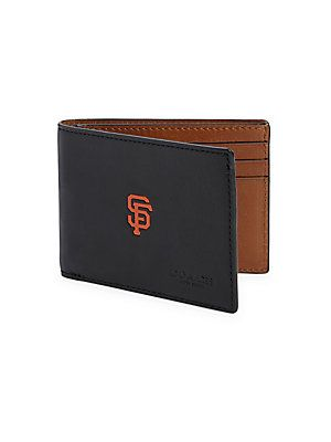 COACH San Francisco Giants Bifold Leather Wallet - Black