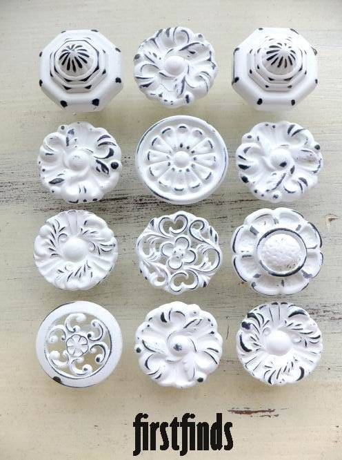 White Kitchen Knobs 12 misfit knobs shabby chic white kitchen reno cabinet pulls
