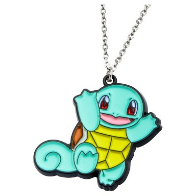 """Pokémon Squirtle Stainless Steel and Enamel Pendant with Chain (18"""" + 2"""" ext.), Women's, Size: Small, Multi-Colored"""