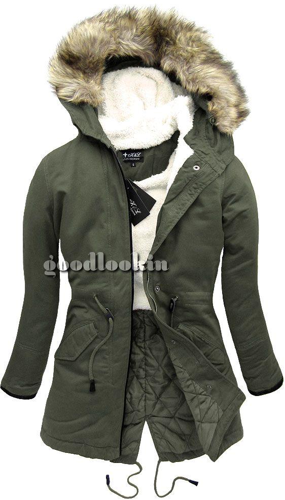 Parka Zimowa K L Khaki Km1519 Boho Style Inspiration Winter Jackets Parka
