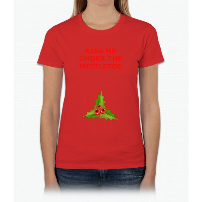 kiss me under the mistletoedirty christmas shirt womens t shirt