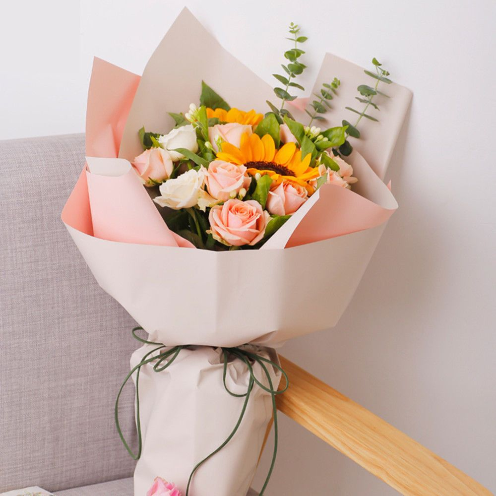 60x60cm Colorful Flower Packaging Paper Waterproof Gift Bouquet