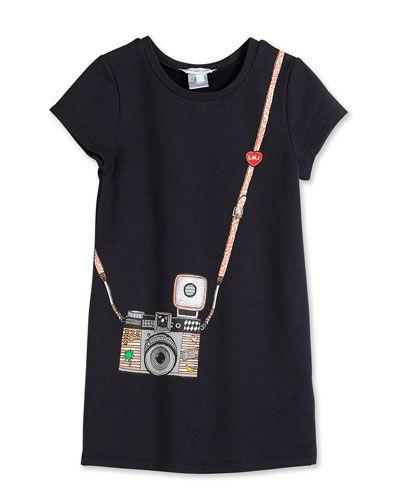 Little Marc Jacobs Trompe l'Oeil Camera-Print Jersey Dress